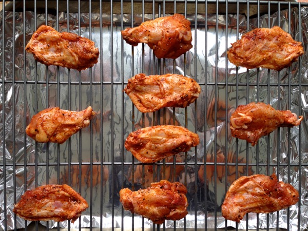 Crispy Wings Baking on a Cooling Rack