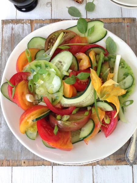 Heirloom Tomato and Cucumber salad recip
