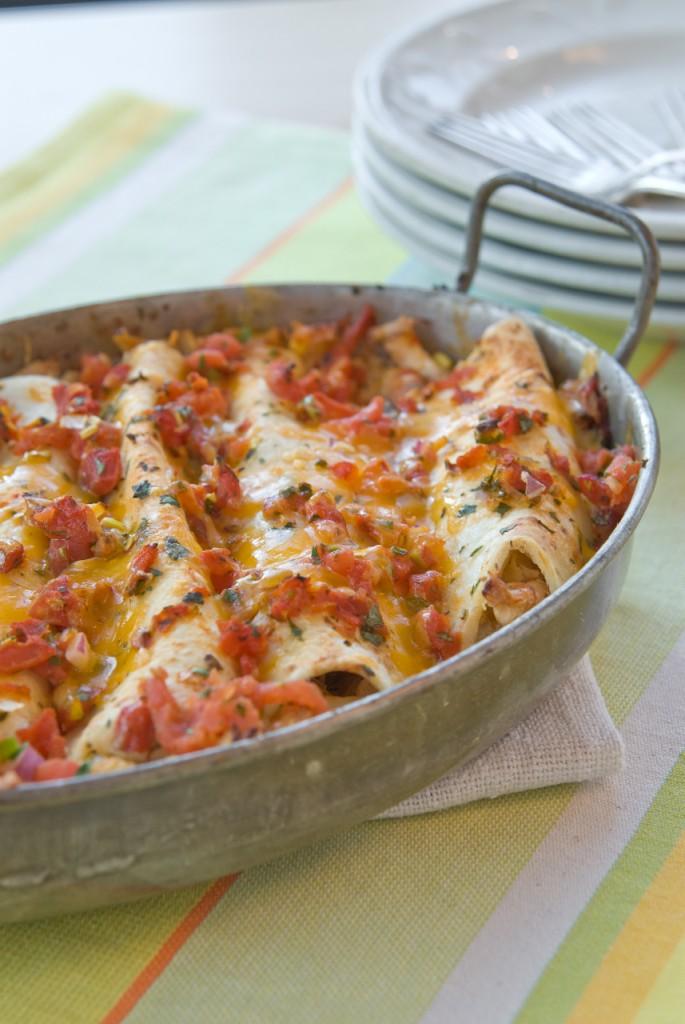 Fastest Ever Chicken Enchiladas by Ingrid Hoffmann