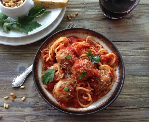 Spaghetti and Fontina Stuffed Meatballs Recipe