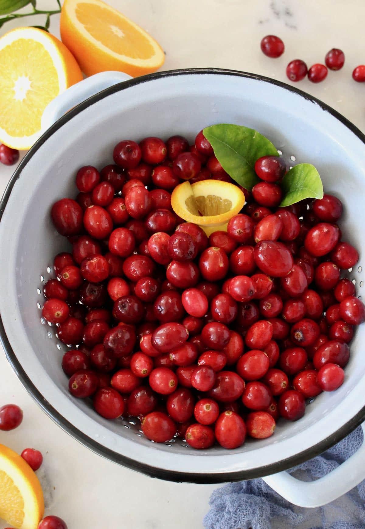 bowl of fresh cranberries + orange for sauce