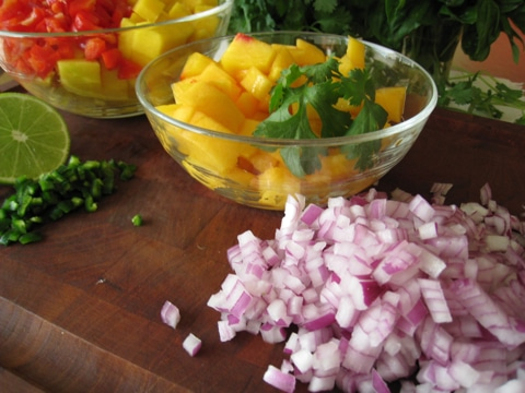 Chopped Ingredients 1 Fruity Peach and Mango Salsa Recipe