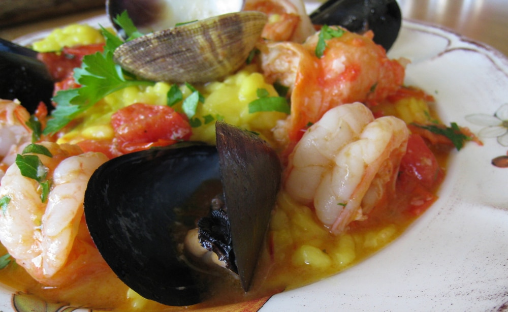 Seafood Risotto Frutti di Mare with Shrimp, Crab, Mussels, Clams and Saffron