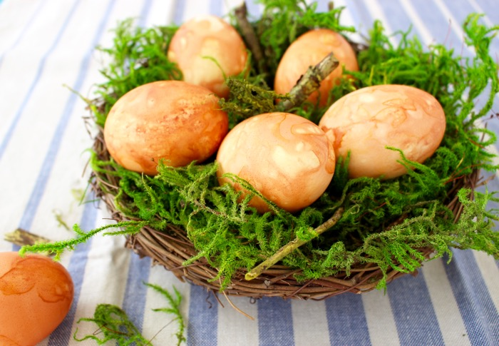 Moss Basket with Naturally Colored Easter Eggs