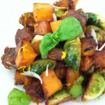 Sautéed Brussels Sprouts with Butternut Squash and Chorizo