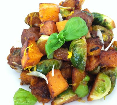 Sauteed Brussels Sprouts with Butternut Squash and Chorizo