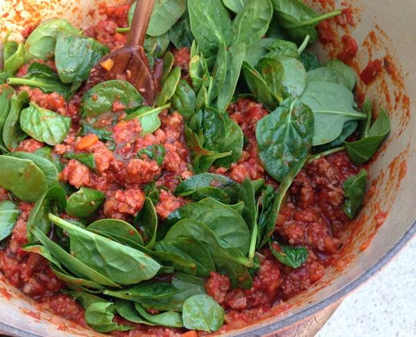 Italian Sausage Ragu Recipe with Baby Spinach