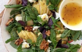 Basil Pear Salad Recipe with Lemon Honey Dressing