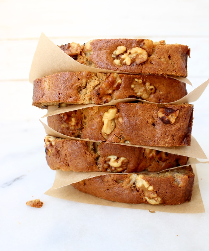 Slices of Ricotta Banana Nut Bread with Walnuts