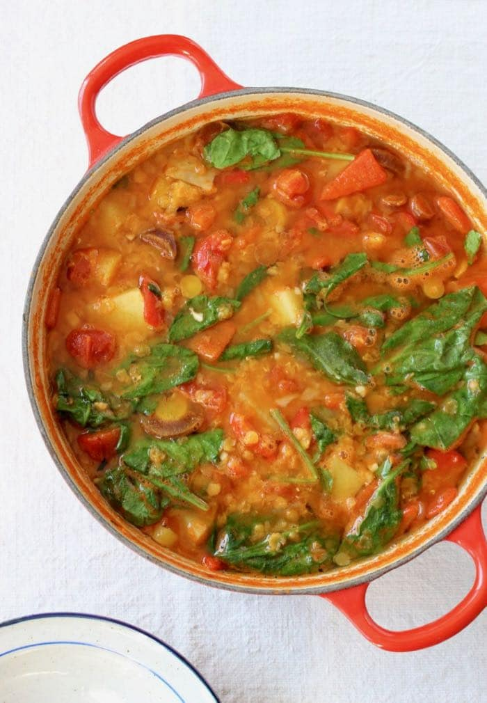 Italian Lentil Soup Recipe with Potatoes and Spinach