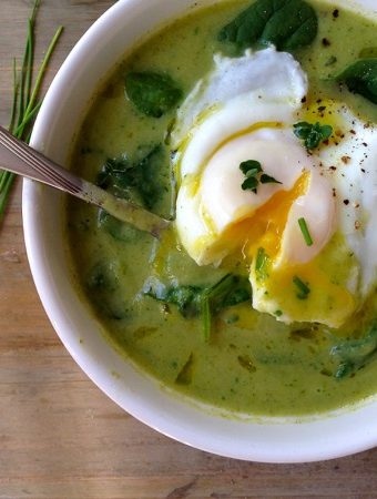 Bowl of Broccoli Spinach Soup with a Poached Egg