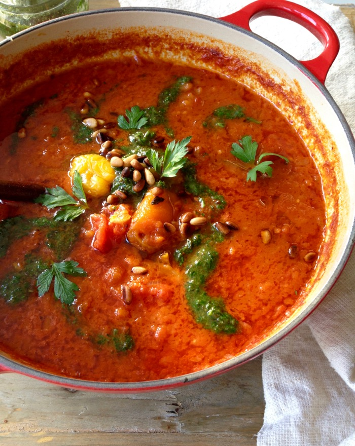 Vegan Roasted Red Pepper and Tomato Soup with Pesto and Smoked Paprika