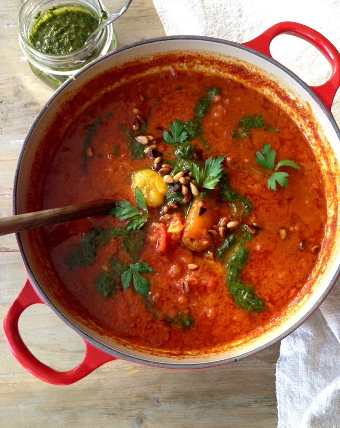 Healthy Roasted Red Pepper Tomato Soup with Pesto and Smoked Paprika