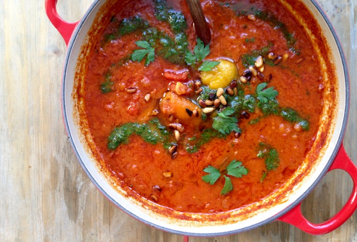 Roasted Red Pepper Tomato Soup with Pesto and Smoked Paprika