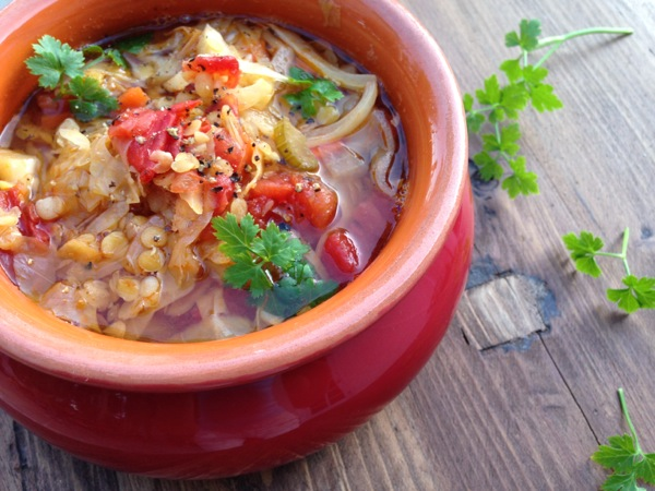Rustic Tomato Cabbage Soup Recipe with Lentils