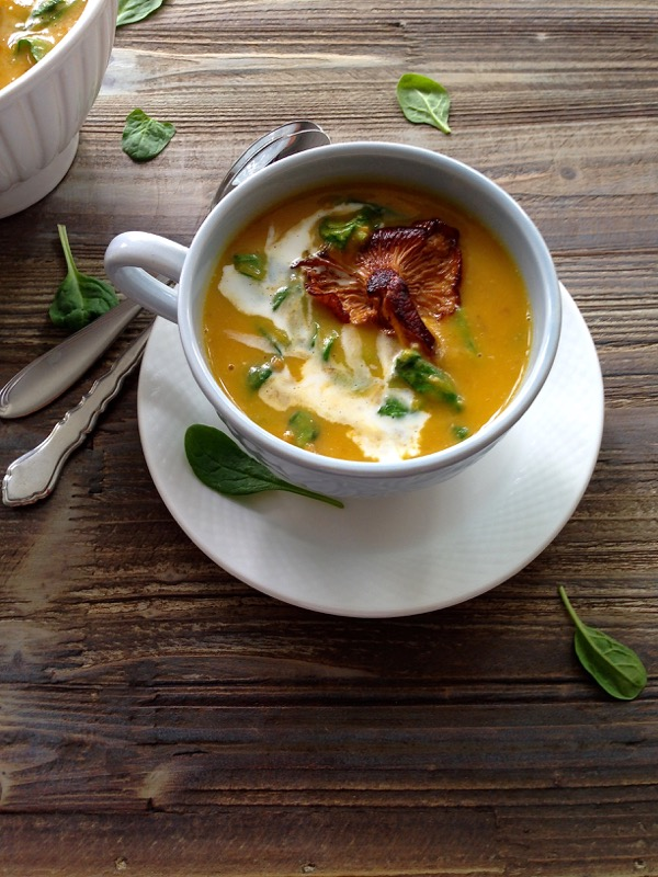 Chanterelle Mushroom Soup with Butternut Squash