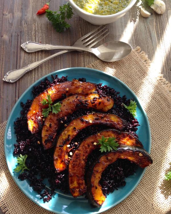 Roasted Acorn Squash Recipe with Pepper Chimichurri