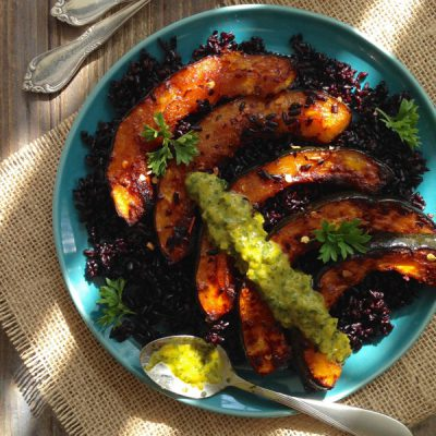 Roasted Acorn Squash Recipe with Pepper Chimichurri