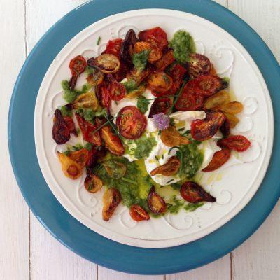 Roasted Tomato Salad Recipe with Burrata & Scallion Dressing