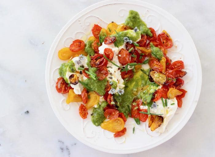 Slowly Roasted Cherry Tomatoes over Burrata Cheese with a Scallion Dressing