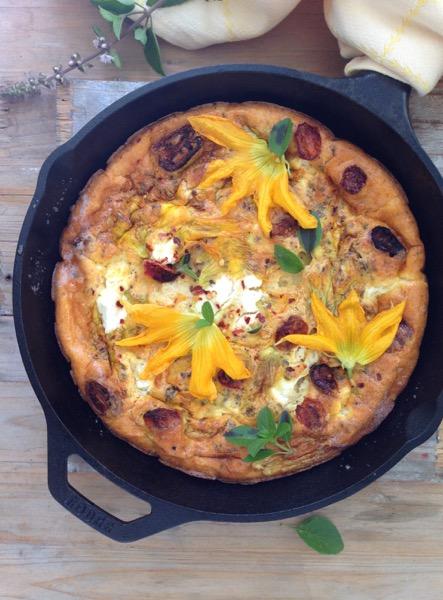 squash blossom and garlic frittata recipe on food52 garlic frittata ...