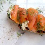 Smoked Salmon Crostini with Mascarpone Cheese on a Marble Board