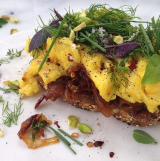 Custardy Egg Sandwiches & Caramelised Onions Recipe