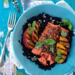 Grilled Peach Balsamic Salmon Fillets Recipe