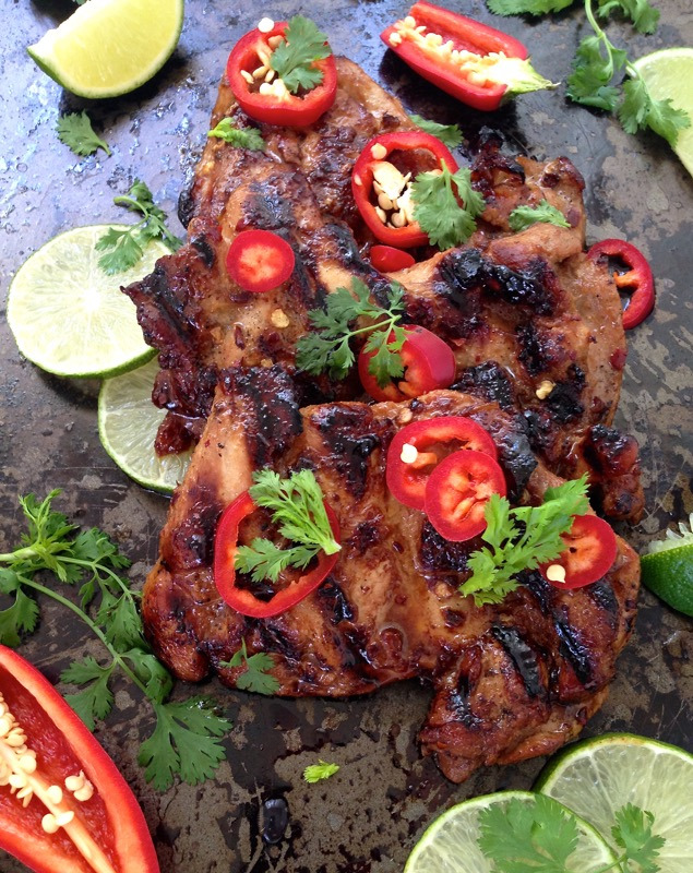 Spicy Grilled Chicken Thighs with Lime Soy and Garlic Marinade