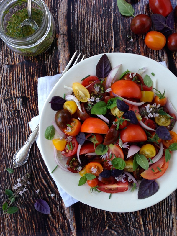 Tomato Basil Salad with Chive Vinaigrette Recipe
