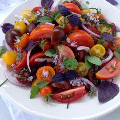 Tomato Basil Salad with Chive Vinaigrette