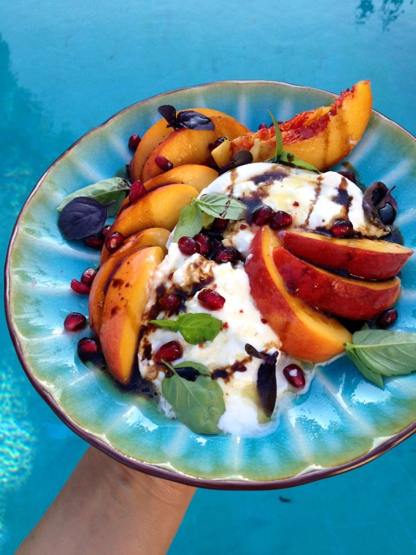 Burrata Peach Salad with Green and Purple Basil