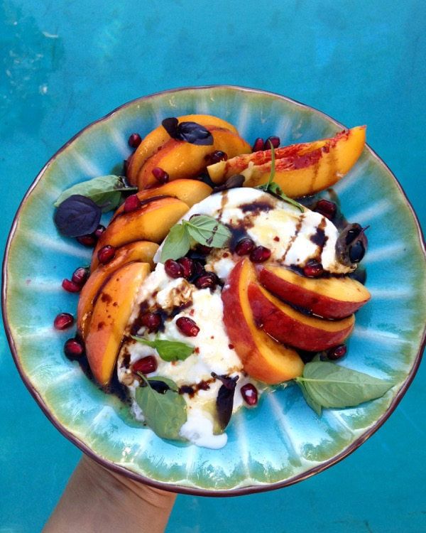 Burrata Peach Salad with Basil and Balsamic Reduction