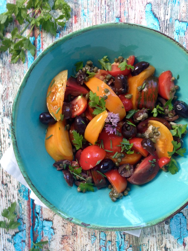 Tomato Puttanesca Salad with Capers, Garlic and Anchovies