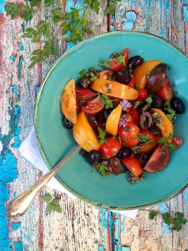 Heirloom Tomato and Black Olive Salad