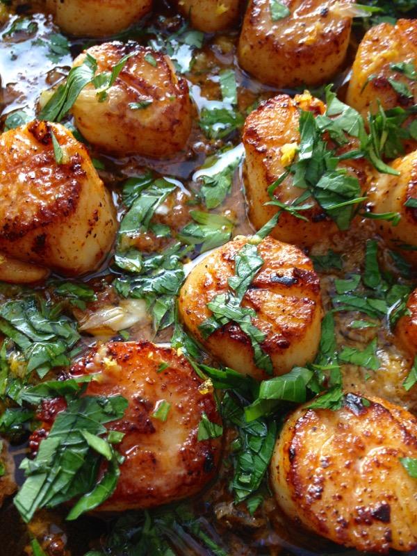 Golden Brown Cast Iron Pan Seared Garlic Scallops in Healthy Clarified Butter