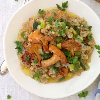 Brown Rice Risotto Recipe with Leeks & Golden Chanterelle Mushrooms