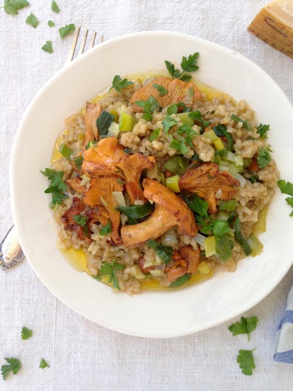 Golden Chanterelle Leek Brown Rice Risotto Recipe