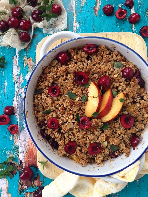 Granola Peach & Cherry Fruit Crisp Recipe - Ciao Florentina