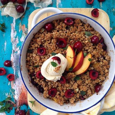 Granola Peach & Cherry Fruit Crisp Recipe
