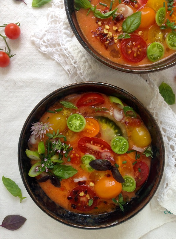 ... days and nights beg for chilled bowls of heirloom tomato gazpacho