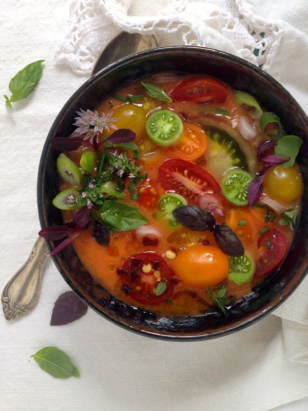Bowl of Heirloom Tomato Gazpacho Soup