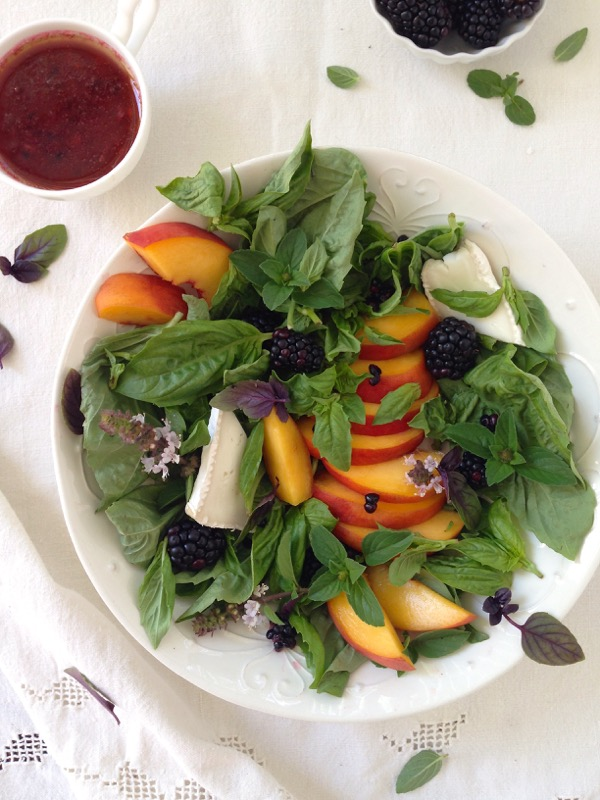 Peaches, Basil, Goat Cheese Brie and Blackberries for Salad