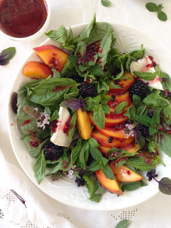 Peach Salad with Basil and Blackberry Vinaigrette