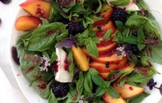 Peach Basil Salad Recipe with Blackberry Vinaigrette