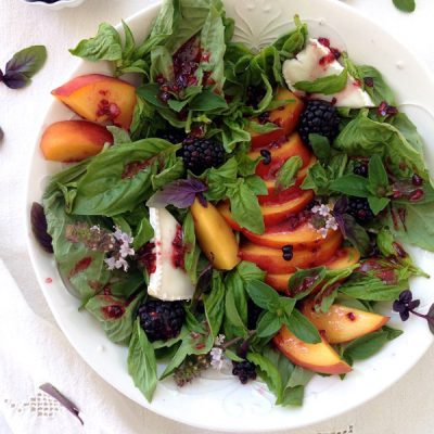 Peach Salad with Basil & Blackberry Vinaigrette Recipe
