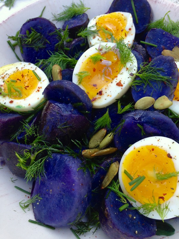 ... say no to a purple potato salad with creamy chicken eggs on top