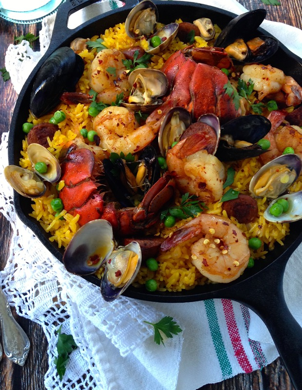 Healthy Seafood Paella in a Cast Iron Skillet