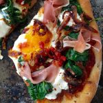 Egg Pizza Recipe with Prosciutto Ricotta and Spinach