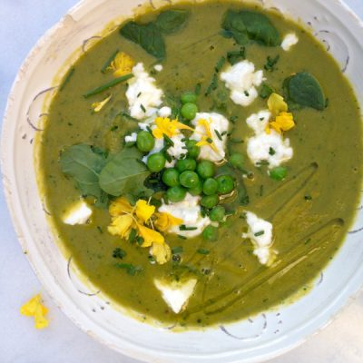 Green Peas Soup Recipe with Spinach Goat cheese